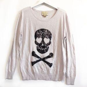 Wildfox white label Sequin Love Skull Sweater, S